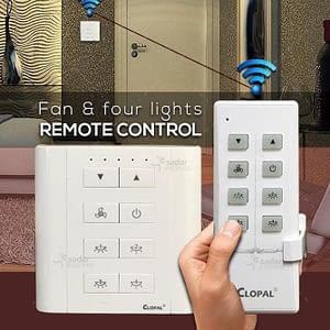 Clopal 8 Channels 4 lights 1 fan remote control switch