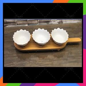 Set of 3 Ceramic pure white small bowl