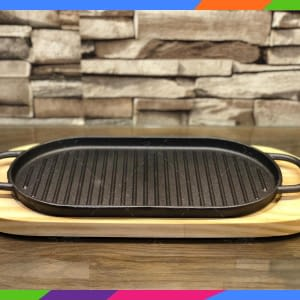 small reversible cast iron non stick griddle pan grill tray cooking plate & wood base