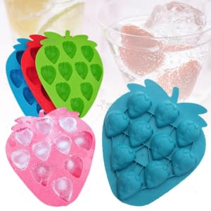 Silicone Strawberry Shape Mold For Ice Frozen Cube