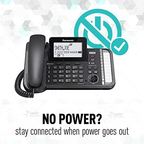 panasonic kx-tg9582b 2-line corded/cordless phone system with 2 handsets 1