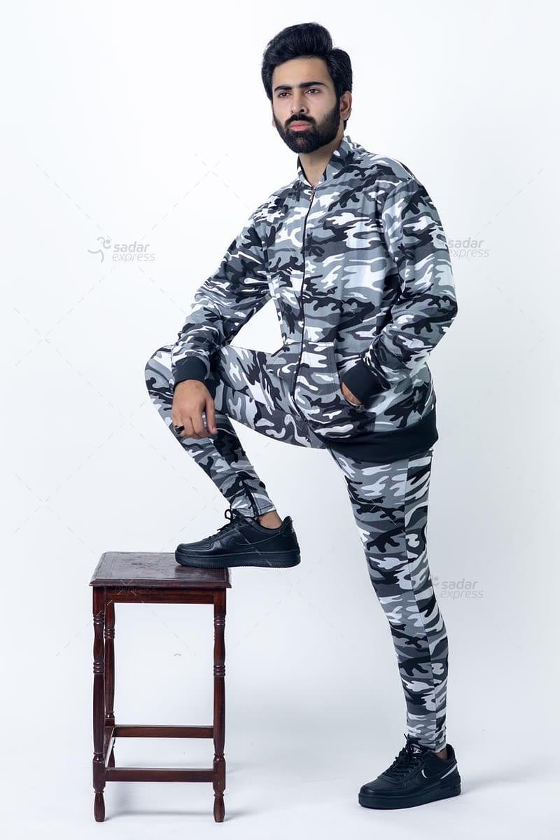 mens camouflage track suit zipper 1