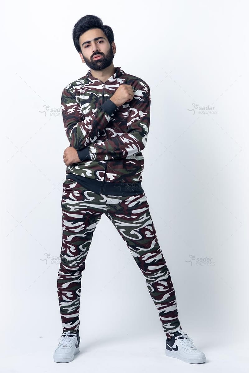 mens camouflage track suit zipper 2