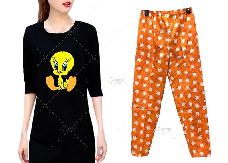 women long teeshirt with soft cotton pajama 1