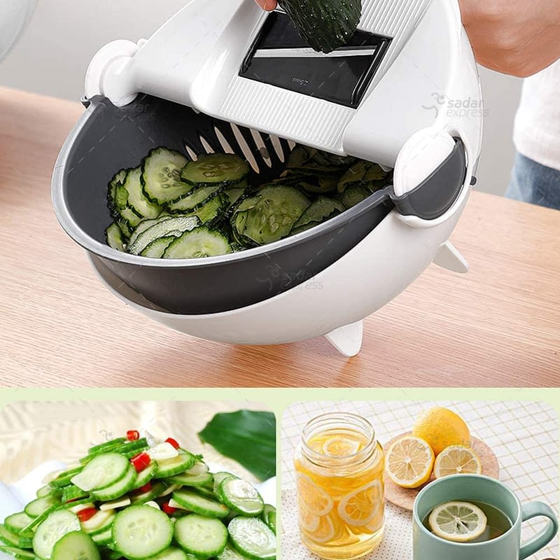 magic rotate vegetable cutter with drain basket 9 in 1 multi-functional large capacity vegetables chopper kitchen veggie fruit shredder grater slicer 1