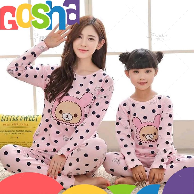 pink dots kids nightwear sleepwear soft cotton night suits for mother & daughter 1