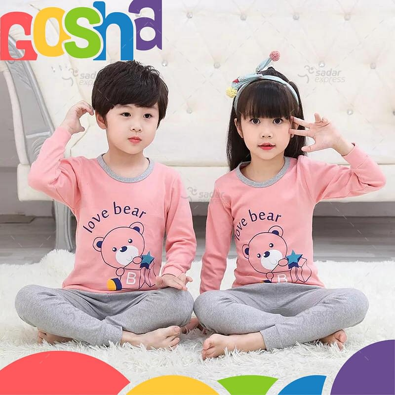 pink and grey kids nightwear sleepwear soft cotton night suits for boys & girls 1