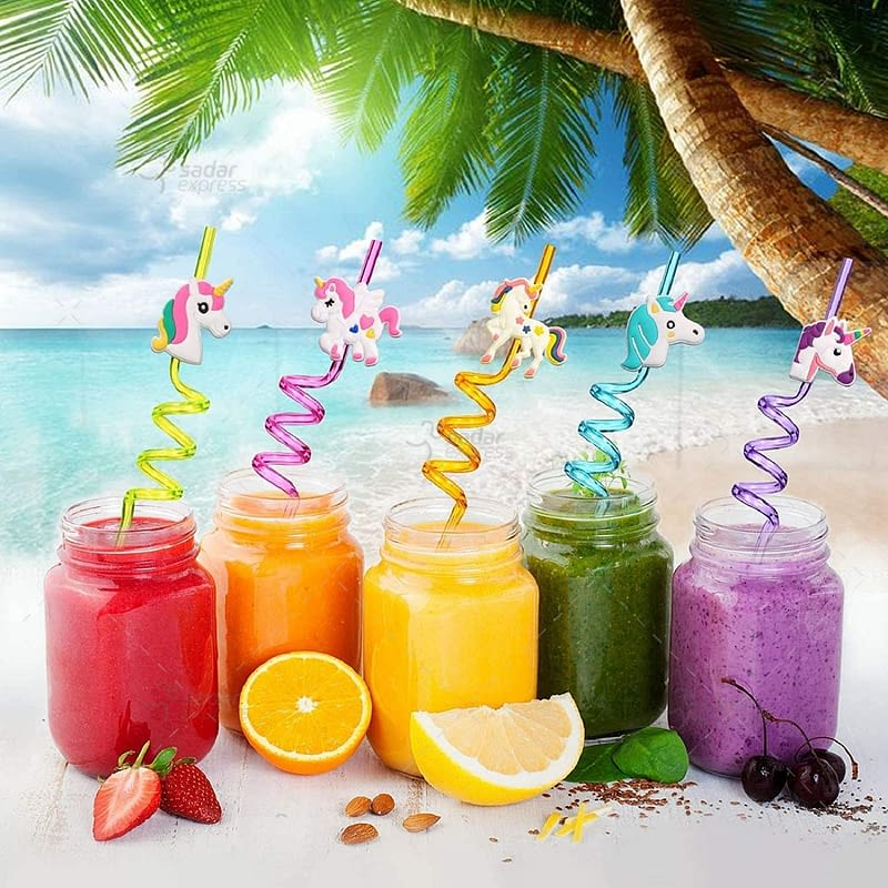 funblast reusable straws for kids, fruit spiral drinking straw for drinking juice, milk(assorted) - pack of 4 (fruit straw) 2