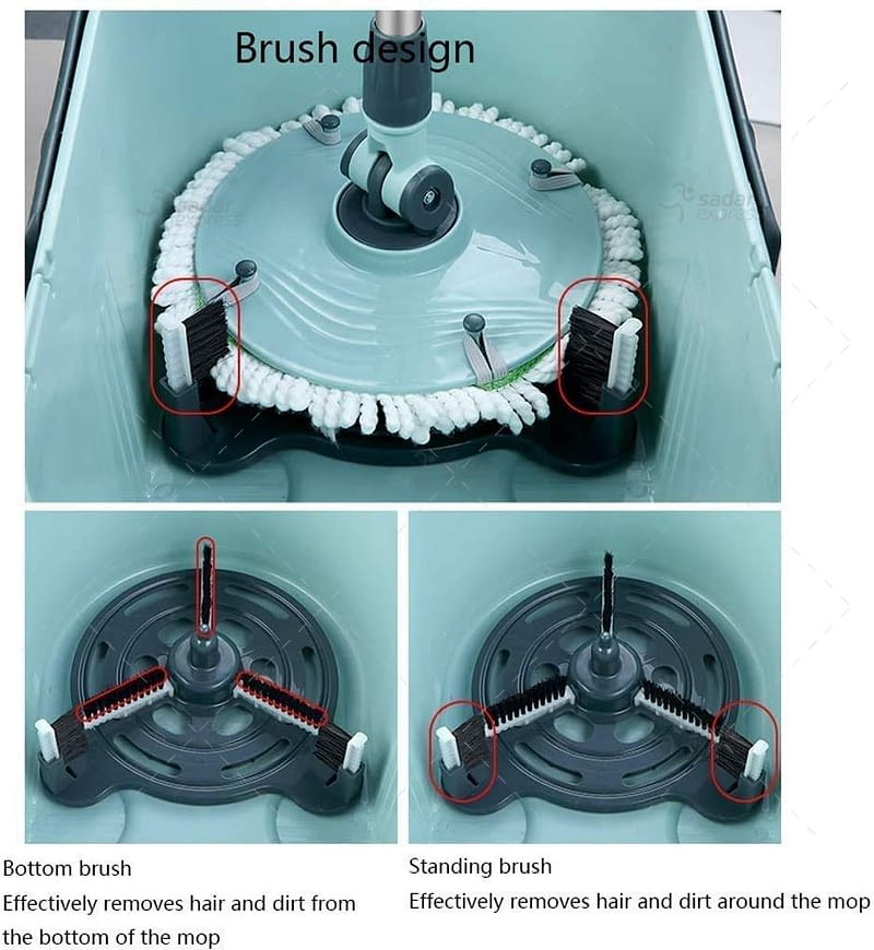 360 degree spinning floor mop microfiber with 2 cleaning heads 2