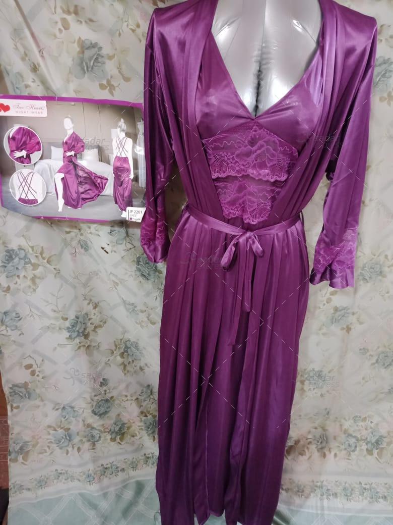 Two Hearts 2 Piece Silk Nightwear Inner + Gown For Girls & Women - 2201