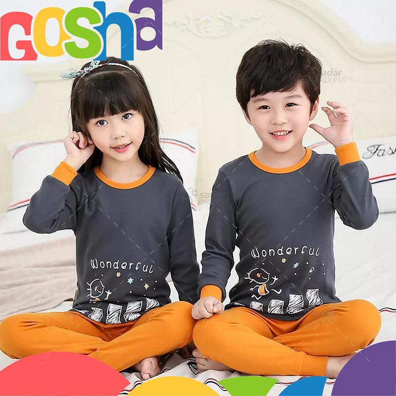 Orange and Grey Kids nightwear sleepwear soft cotton night suits for boys & girls