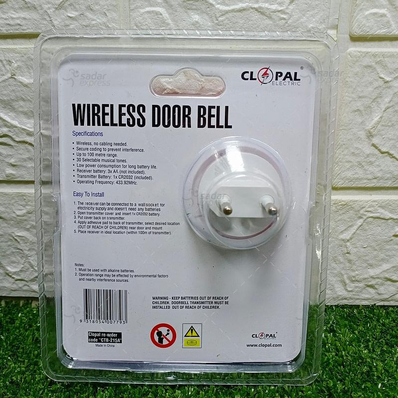WIRELESS DOOR BELL 220 V WITH 1 TRANSMITTER - LONG RANGE UPTO 70M