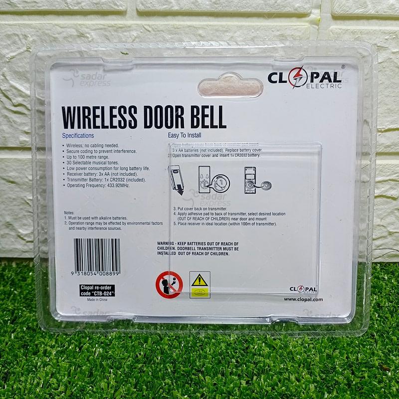 WIRELESS DOOR BELL - LONG RANGE UPTO 70M