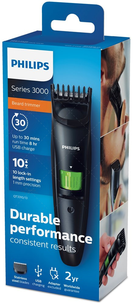 philips series 3000 beard and stubble trimmer with usb charging - qt3310/13