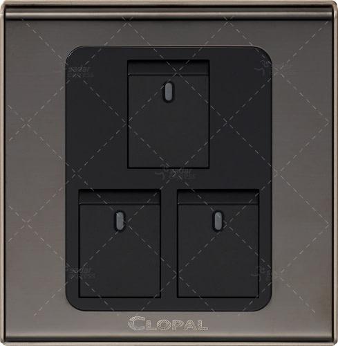 clopal 3 gang switch board black gold
