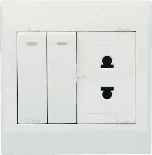 clopal switch board 2 switches + 1 socket white