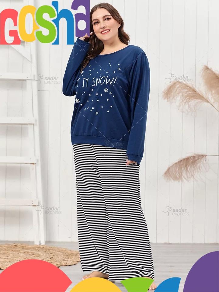 snow blue pajama set women two-pieces long sleeve sleepwear