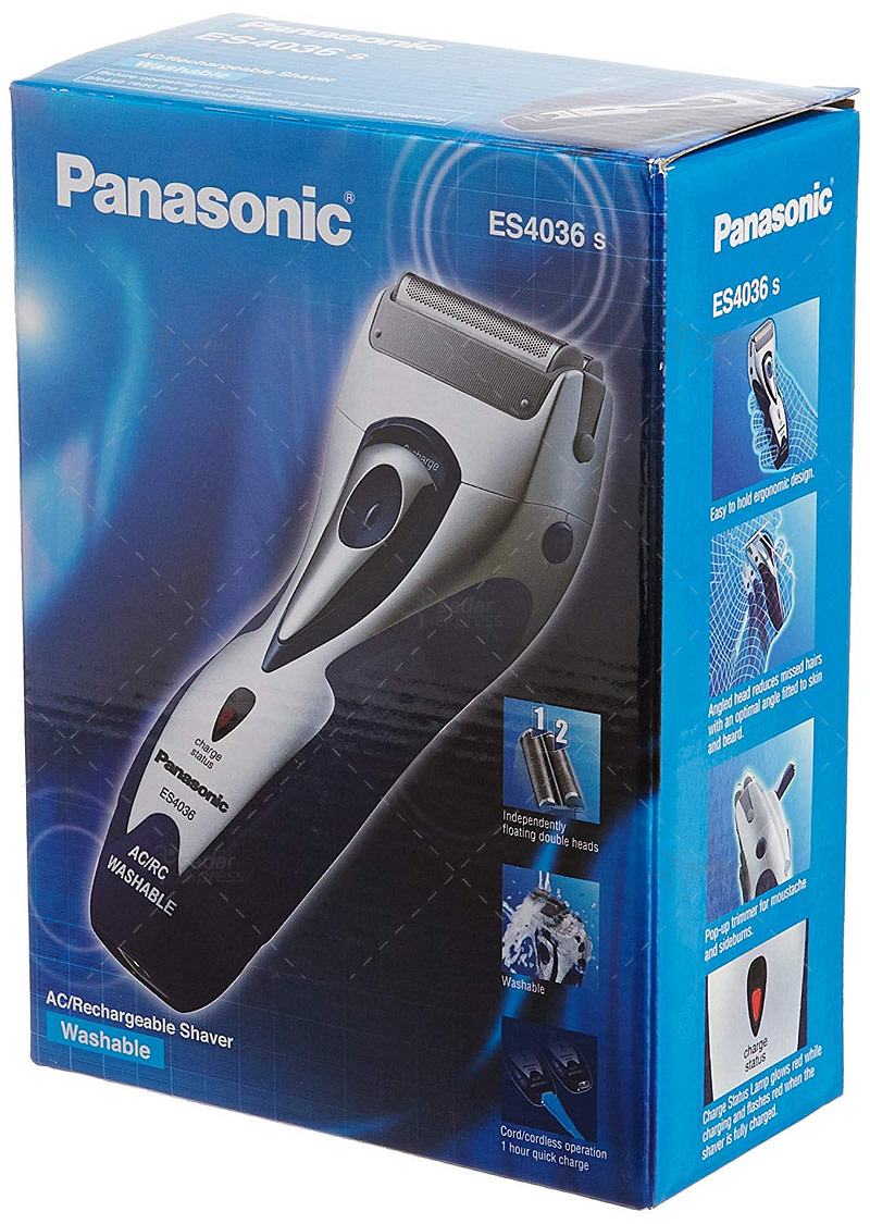 panasonic es4036 washable shaver with pop-up trimmer - cord / cordless - blue / silver