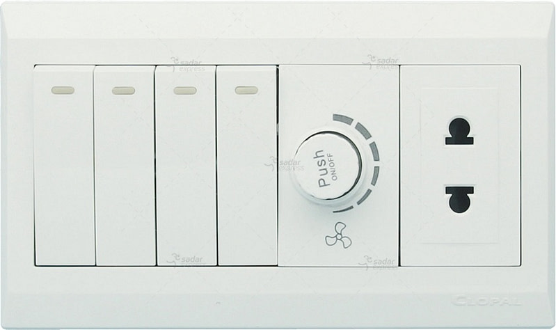 clopal switch board 4 switches + 1 dimmer + 1 socket white