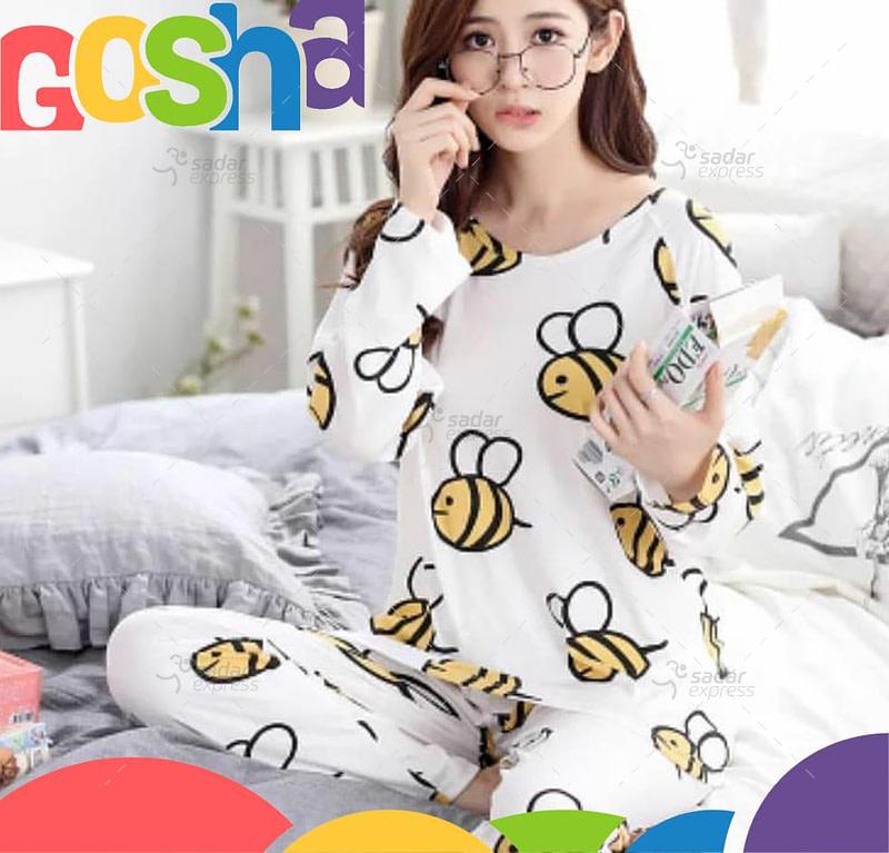 honey white pajama set women two-pieces long sleeve sleepwear