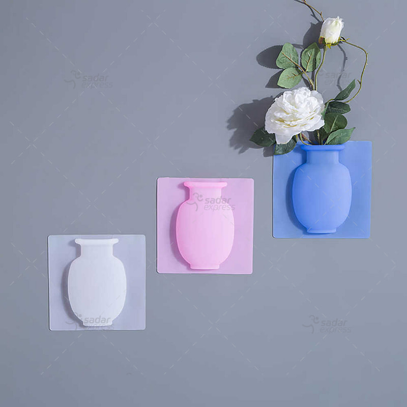magic rubber silicone sticky flower wall hanging vase container floret bottle modern creative plant bottle flower vase decorative centerpiece for home or wedding