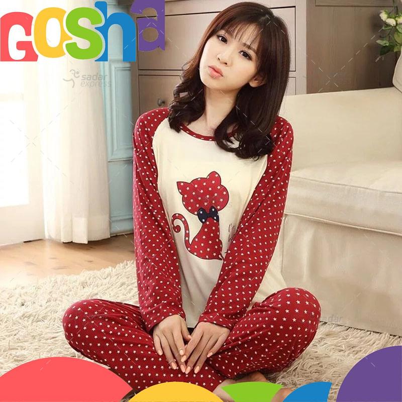 red dot cat pajama set women two-pieces long sleeve sleepwear