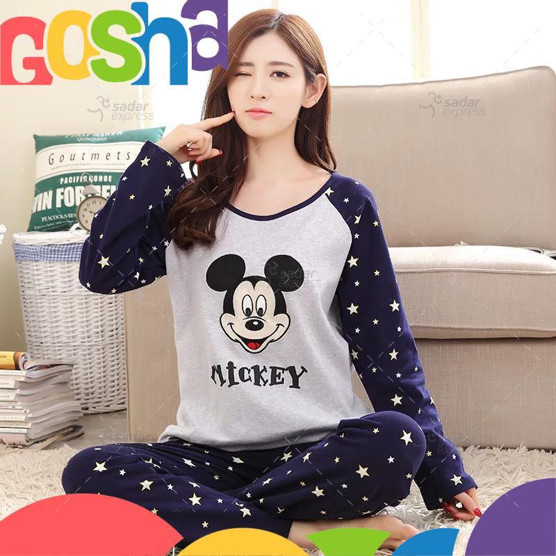mickey mouse blue pajama set women two-pieces long sleeve sleepwear