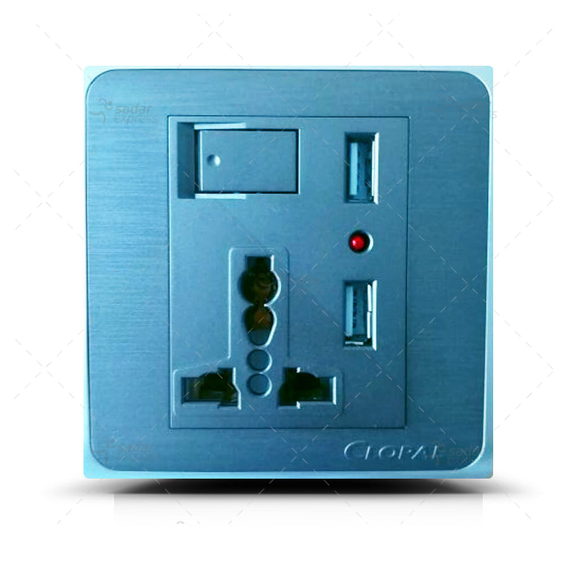 clopal 3 pin power socket with 2 usb inputs for android and ios