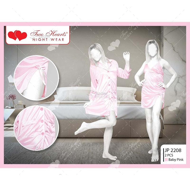two hearts 2 piece silk nightwear & lingerie for girls & women jp2208