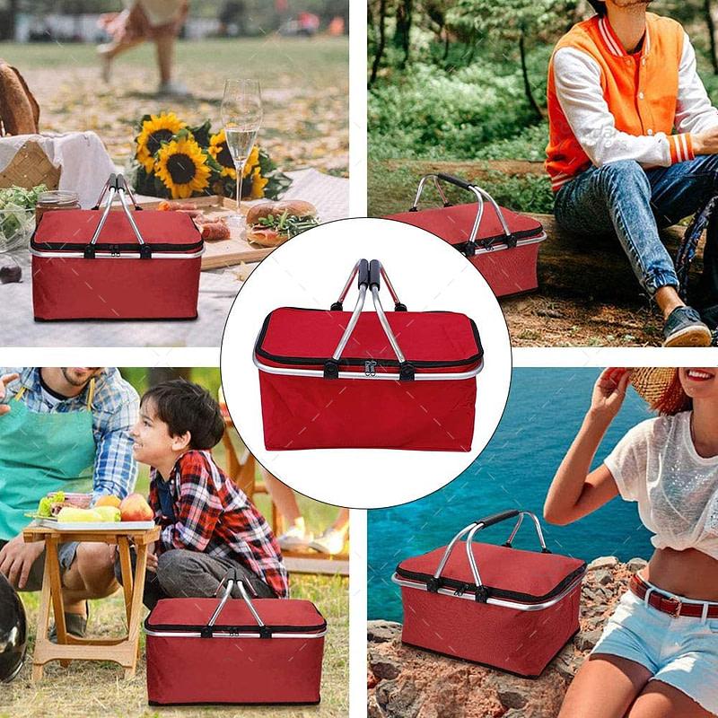 picnic basket collapsible portable market basket bag for travel, shopping & camping, keeps wine, food & drinks fresh